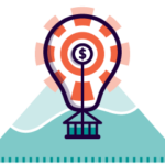 Icon of lightbulb styled as an air balloon with money presenting business expansion