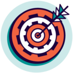 Icon of dart board representing the idea of business strategy and business planning