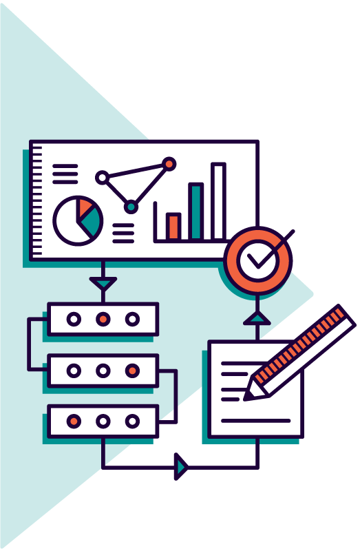 Icon of graphs, process diagram and written document representing business strategy services