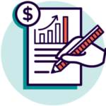 Icon of document with graph, writing and money representing grant applications and funding pitches