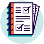 Icon of check list document representing business cases and feasibility studies