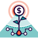 Icon of plant growing money representing business scaling strategies